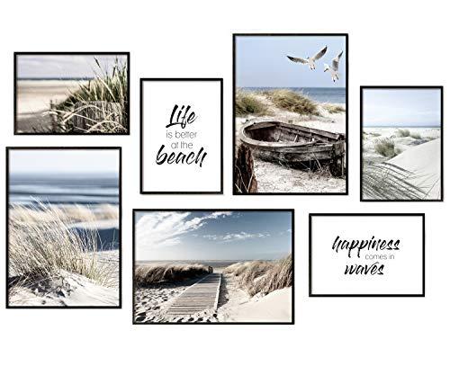 Hyggelig Home Premium Poster Set - 7 passende Bilder im stilvollen Set als Wohnzimmer Deko - Collage Wand Bild Schlafzimmer Flur - 3 x DIN A3 + 4 x DIN A4 - Set Ocean - Ohne Rahmen