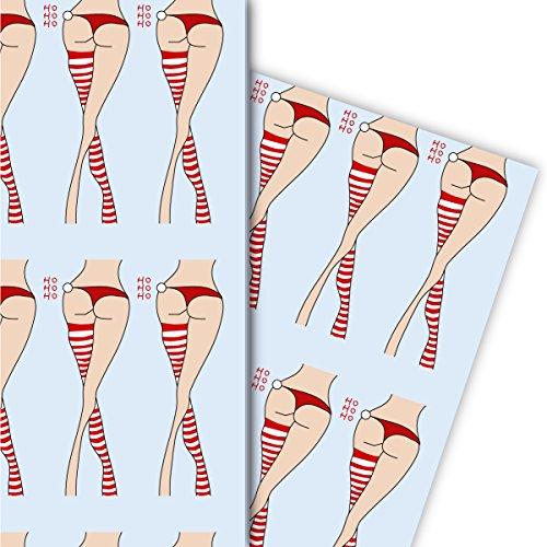 Sexy Weihnachts Geschenkpapier Set (4 Bogen) | Dekorpapier mit Weihnachts Strümpfen