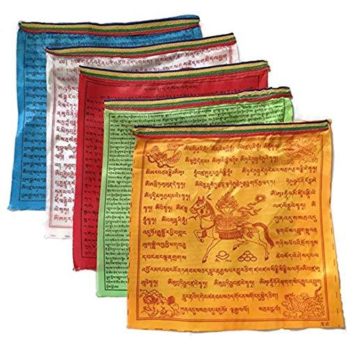 Feng Shui Tibetische buddhistische Gebetsfahnen, 10 Schriftzüge, Satin, religiöse Windpferd-Flagge, Textil, mehrfarbig, XLarge -16.92*12.99 in