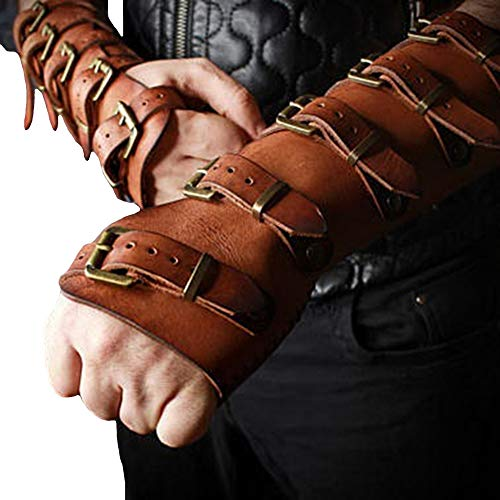 Roller Buckle Wristband Bracer Pleather Arm Guard Armor Cuff Punk Gothic Medieval Costume Gauntlet Vambraces