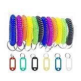 Unbekannt Porte-clés coloré au poignet, 20 porte-clés avec anneau fendu et 20 porte-clés en spirale, utilisé dans la salle de sport, à la piscine, dans les bagages pour animaux de compagnie.