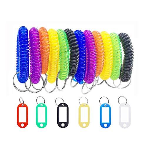 HUYIWEI Farbiger Schlüsselbund am Handgelenk,20 Schlüsselanhänger Mit Spaltring und 20 Spiralschlüsselanhänger,Verwendet im Fitnessstudio,im Schwimmbad,im Haustiergepäck
