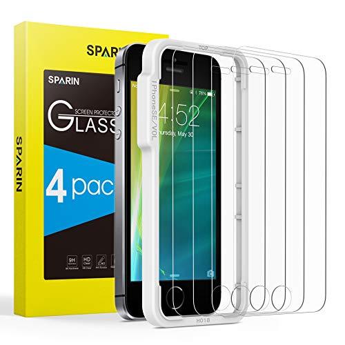 SPARIN [4 Stück] Panzerglas für iPhone SE/ 5/ 5s/ 5c( Nicht für iPhone SE 2020), Panzerglas iPhone SE 2016 mit [Nicht vollständig bedecken][Positionierhilfe][9H Härte][Anti-Kratzen][Blasenfrei][HD]