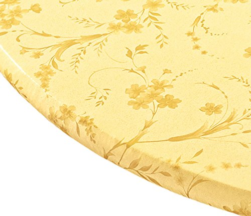 Miles Kimball Floral Swirl Vinyl Elasticized Table Cover, 40 - 44 Inch Dia Round, Yellow
