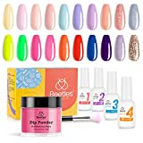 Beetles Powder Nail Dipping kit, Dip Powder Nail kit with 20 Nude Pink Red Pastel Neon Blue Dip Powder Colors Best Girlfriend Gift Valentine's Day Collection with Base Top Activator Brush Saver