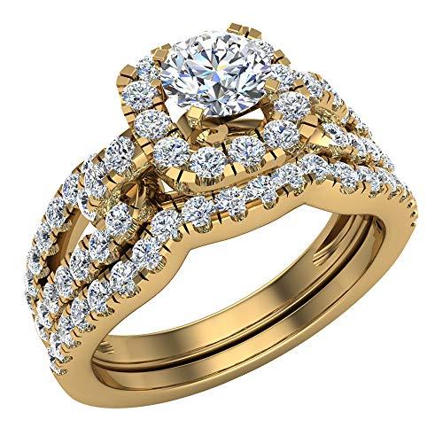 Juego de anillos de boda para mujer, vástago de diamante acentuado de 1,00 a 1,05 quilates de oro de 14 quilates (H,SI1) (tamaño del anillo 4)