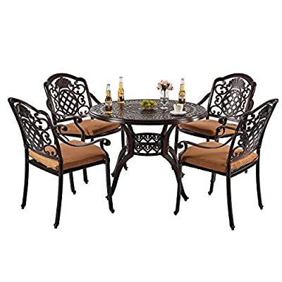 """Nuzanto 5 Piece Patio Bistro Dining Set with Cushions Round 4 Person 39.37"""" Outdoor Patio Dining Table with Umbrella Hole and Stacking Patio Bistro Dining Armchair"""