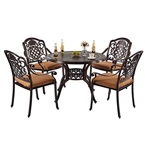 Nuzanto 5 Piece Patio Bistro Dining Set with Cushions Round 4 Person 39.37' Outdoor Patio Dining Table with Umbrella Hole and Stacking Patio Bistro Dining Armchair