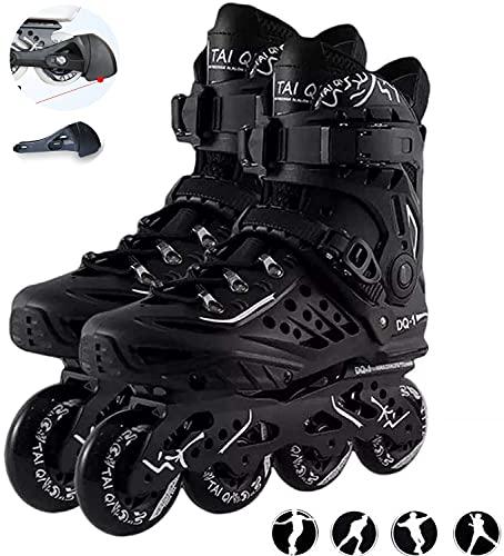 DUANYU Herren Damen Inliner Inlineskates   82A Rollen   ABEC9 Chrome Kugellager   Unisex Fitness Skates für Erwachsene-Black  39