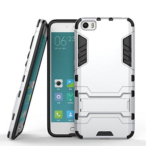 Funda para Xiaomi Mi 5 (5,15 Pulgadas) 2 en 1 Híbrida Rugged Armor Case Choque Absorción Protección Dual Layer Bumper Carcasa con Pata de Cabra (Plateado)