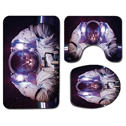 3Pcs Non-Slip Bathroom Rug Toilet Seat Lid Cover Set Space Cat Soft Skidproof Bath Mat Kitty in Cosmonaut Suit in Galaxy Stars Supernova Design Image,White Purple and Dark Blue Absorbent Doormat Bedro