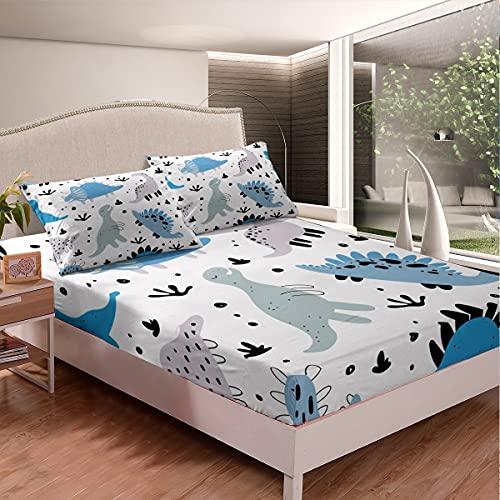 Lindo juego de sábanas bajeras de dinosaurio azul gris con fondo blanco profundo para niños, niñas, adolescentes, dormitorio, 2 piezas (1 sábana bajera y 1 funda de almohada) tamaño individual