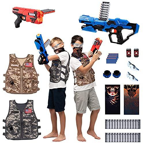 BABY FUN 2 Pack Kids Adjustable Tactical Vest Kit, Nerf Guns N-Strike Elite Series with 2 Dart Blasters, 40 Pcs Refill Darts, 2 Reload Clips, 2 Face Masks, 2 Wrist Bands, 2 Protective Glasses