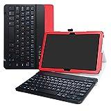 LiuShan MediaPad M5 Lite Teclado Funda, Detachable Wireless Teclado (Teclado QWERTY Formato inglés) PU con Soporte Caso para 10.0' Huawei MediaPad M5 Lite 10 Android Tablet,Rojo