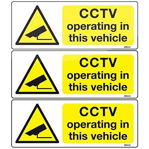 stika.co Lot de 3 autocollants pour voiture/bus/taxi Motif caméras de vidéosurveillance 8 x 3 cm