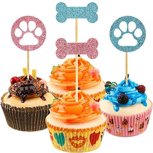 32 decorazioni per cupcake a forma di cane e artigli del cane, decorazioni per torte, decorazioni per feste di compleanno per cuccioli, feste a tema animali domestici, feste di compleanno per bambini