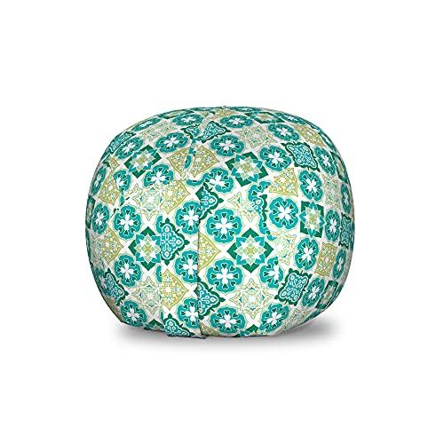 ABAKUHAUS marokkanisch Spielzeugtaschenstuhl, Geometrische Farbige Fliesen, Gefüllter Tier Organizer Waschbare Tasche für Kinder, Kleine Größe, Grüne Teal weiß