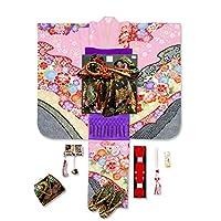七五三 7歳女の子用着物フルセット(合繊) 絵羽柄の四つ身の着物(日本製) 結び帯 草履 バッグ 着付け小物セット「ピンク×黒 古典柄」TYSR828d106MM