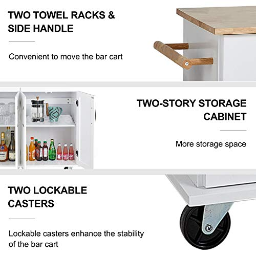 QCen Kitchen Island Cart with Smooth Lockable Rolling Wheels, Home Kitchen Carts with Large Storage Drawers and Cabinets, Handle Rack Rubber Wood Top Cabinet and Adjustable Shelves Design (White)