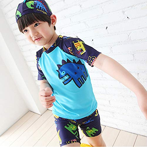 FEIYI Traje de baño para niños con diseño de dinosaurio de dibujos animados, traje de baño de 2 piezas, traje de baño para niños de 2 a 13 años (color: azul, talla: S (2 a 3 años))