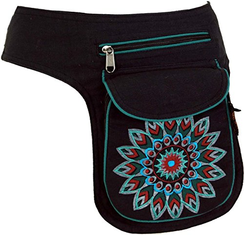 Guru-Shop Stoff Sidebag & Gürteltasche Mandala, Goa Gürteltasche, Bauchtasche - Petrol, Herren/Damen, Schwarz, Baumwolle, Size:One Size, Festival- Bauchtasche Hippie