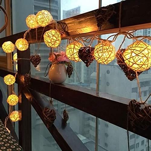 WARMWORD Guirnaldas Luminosas,Luz de Cadena del Pelota de Ratán,Luz de Hada USB y con Pilas Centelleante Globe Luces para Interior Decoración Dormitorio Casera de la Boda de Navidad