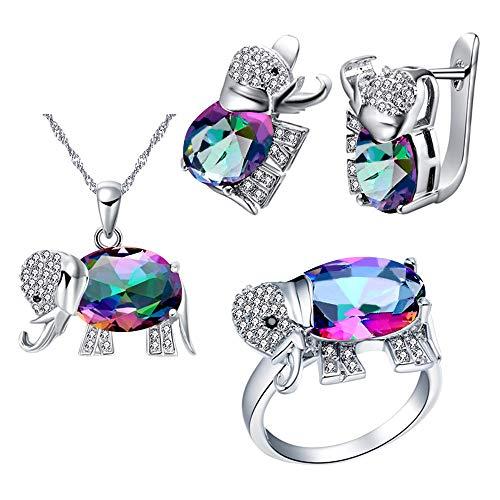 Uloveido Pendientes de elefante de piedra multicolores chapados en oro blanco Colgante de collar y anillos de aniversario de encanto Conjunto de joyas para mujeres nupciales T485