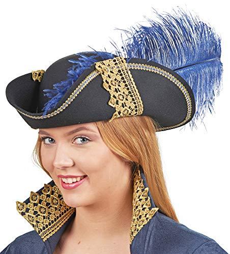 Andrea-Moden Piraten Kapitänin Hut Deluxe für Damen - Schwarz Blau Gold - Edler Wollfilz Hut goldene Spitze Accessoire Freibeuterin Seeräuber Musketier Girl Kostüm