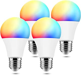 BrizLabs Smart Light Bulbs, 9W WiFi Bulbs No Hub Required, Warm White & Multicolor Dimmable LED Bulb, A19 60W eq, E26, 806LM, Compatible with Alexa & Google Assistant, 4 Pack