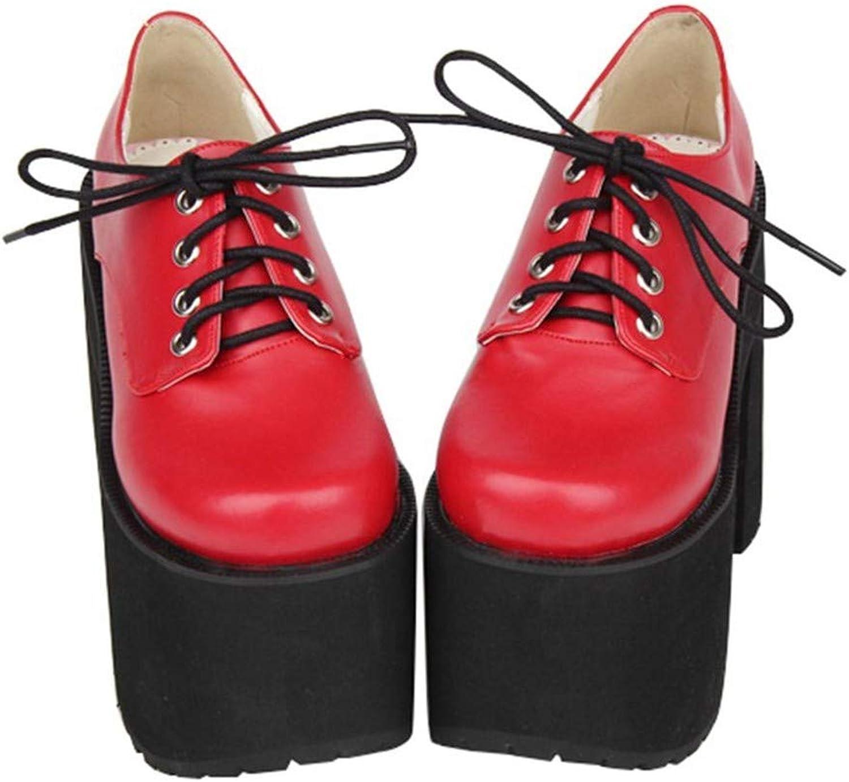 PINGXIANNV Lolita Lolita Schuhe Frauen Dicke Plateauschuhe Spitze Ultra-High-Punk-Schuhe  auf dich wartend