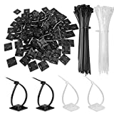 Zip Tie Adhesive Mounts Self Adhesive 3M Cable Tie Base Holders with Multi-Purpose Tie wire clips with screw hole,Anchor stick on wire holder with White and Black (140 Pack)