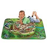 Pink Papaya Spiel-Teppich für Kinder, Ultra-weiche Straßen-Matte, 100 x 150 cm Straßenteppich Mittelalter, mit Burg, Wassergraben, Drache und Ritter-Turnierplatz, für Jungen und Mädchen - 4