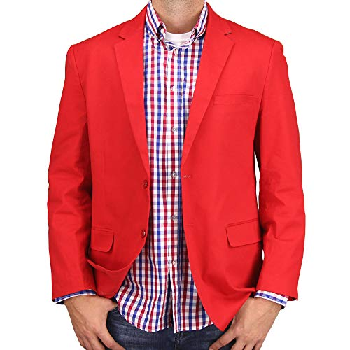 Mens Casual Blazer Sport Coat Jacket (Red, 42 Regular)