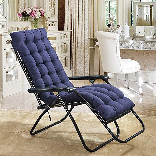 Liegenauflage, Gartenliege Auflage, Dick Garten Liege Stuhl Polster, Anti-Rutsch Kissen für Gartenliegen Sonnenliege Liegestuhl, Auflage mit rutschfeste Taschen (170 * 53 cm) ohne Stuhl (Blau)
