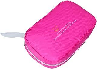 特大スペース収納ビューティーボックス 美の構造のためそしてジッパーおよび折る皿が付いている女の子の女性旅行そして毎日の貯蔵のための高容量の携帯用化粧品袋 化粧品化粧台 (色 : ピンク)