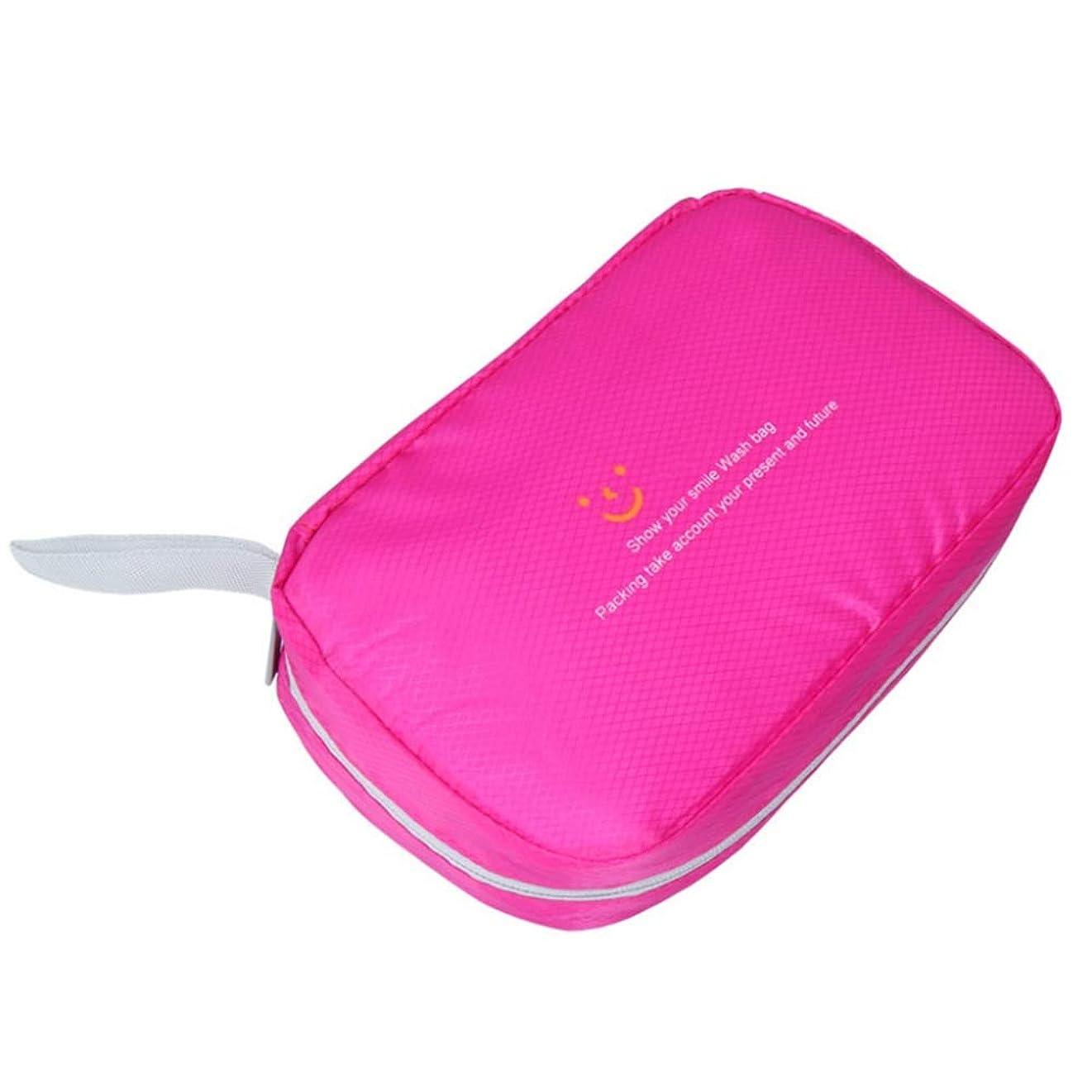 情熱階続ける特大スペース収納ビューティーボックス 美の構造のためそしてジッパーおよび折る皿が付いている女の子の女性旅行そして毎日の貯蔵のための高容量の携帯用化粧品袋 化粧品化粧台 (色 : ピンク)
