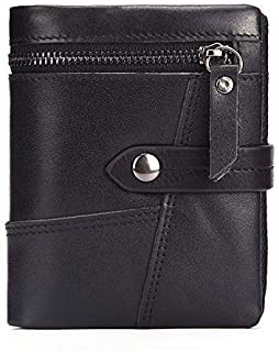 ASdf Men's Wallets, Genuine Cow Leather RFID Blocking Leather Mens Bifold Wallets with Zipper Coin Pocket Casual Men Purse Slim Short Wallet Men Birthday (Color : Black)