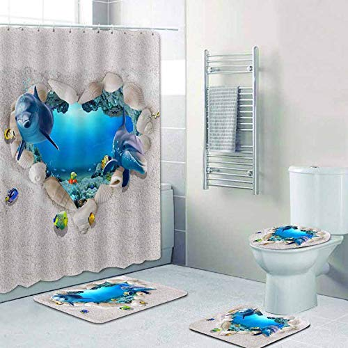WODEJIA Bathroom Shower Curtain Toilet Cover Floor Mat Accessories Four-Piece Polyester Fabric 3D Printing Heart-Shaped Dolphin