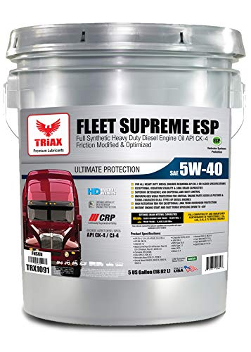 Triax Fleet Supreme 5W-40 API CK-4 Full Synthetic Diesel Engine Oil, Friction Optimized and Boosted with Molybdenum & Nano-Boron, Superb Powerstroke Performance (5 Gallon Pail)