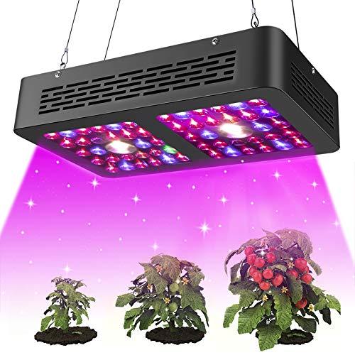 Pflanzenlampe LED COB 600W Vollspektrum Pflanzenlicht Zimmerpflanzen Licht, Dual Chip, Leistungsstarke Lüfter und Daisy Chain für Wachstumslampe Pflanzen ,Blumen, Gemüse im Wohnzimmer(600Watt,Schwarz)