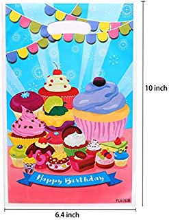 Plastic Party Favor Bags Assorted Colors 50 PCS (Cupcake)