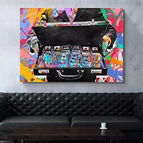 Yueyu Pintura Decorativa en Lienzo Cuadro sobre Lienzo para Pared póster Impresiones Cajas de Dinero Coloridas abstractas Pinturas en Lienzo Carteles decoración de pintura-50x70cm