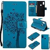 CMID Funda Xiaomi Mi A2 / Mi 6X, PU Cuero Libro Billetera Tapa Antigolpes Protective [Ranura para Tarjetas][Función de Soporte] Cartera Carcasa Case para Xiaomi Mi A2 / Mi 6X (A-Azul)