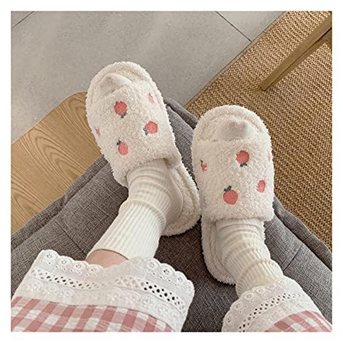 ZPEE Pantuflas Invierno hogar cálido Peludo Calzado Dibujos Animados melocotón Peluche Zapatillas Zapatillas de casa Diapositivas Femenino Chanclas para niñas Zapatos Zapatillas de algodón