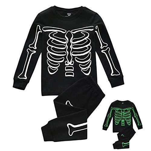 Fossen Kids Disfraz Halloween Pijama Niño Invierno con Estampado de Huesos Luminoso, Traje de Manga Larga Top + Pantalones Disfraces Halloween Niñas 1-7 años (Negro, 2-3 años)