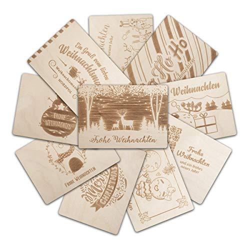Weihnachtskarten 10 Stück aus Holz unterschiedliche Motive DIN A6 148x105mm Holzkarten - Set 2
