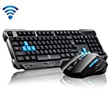 UrChoiceLtdDelog V60 USB Wireless Multimediale Tastiera Da Gioco Ergonomico + 2.4GHz 1000 / 1600DPI 6 Pulsante USB Kit Wireless Gaming Mouse