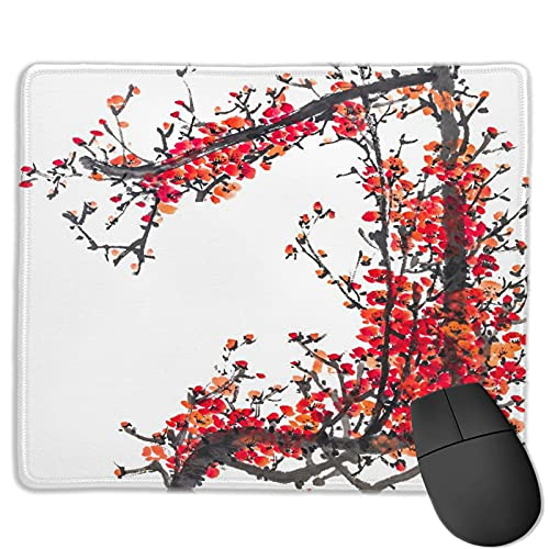 Dekoratives Gaming-Mauspad,Traditionelles Haus Japanische Kirschblüte Sa,Bürocomputer-Mausmatte mit rutschfester Gummibasis