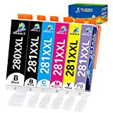 DOUBLE D 280 281 Ink Cartridges Compatible Replacement for Canon Ink 280 and 281 Cartridges PGI-280XXL CLI-281XXL for Canon PIXMA TS9120 TR7520 TR8520 TS8120 TS8220 TS8320 TS6100, 6Pack