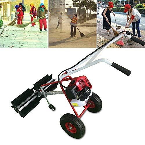 Jintaihua 43CC 1,7 PS 2-Takt Benzin Motorbesen Kehrmaschine, Schneeschieber Schneefräse, Motorbesen Schneeschieber mit 60cm Kehrbesen